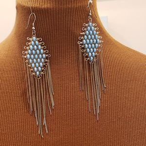 Jewelry - Diamond Shape Turquoise Beaded Earrings
